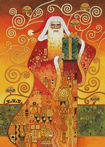 cross stitch pattern Klimt Santa