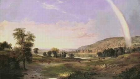 cross stitch pattern Landscape with Rainbow (Large)