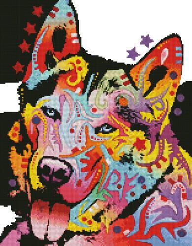 cross stitch pattern Mini Abstract Siberian Husky