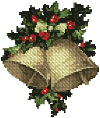 cross stitch pattern Mini Bells and Holly