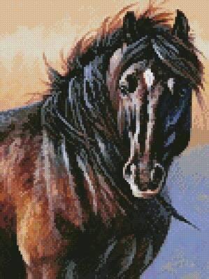 cross stitch pattern Mini Black Stallion
