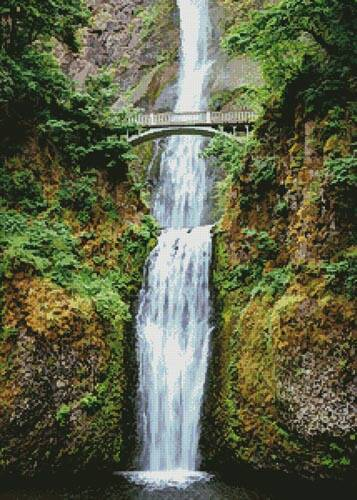 cross stitch pattern Multnomah Falls