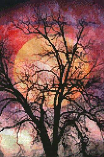 cross stitch pattern Mini Moon in the Branches