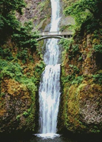 cross stitch pattern Mini Multnomah Falls