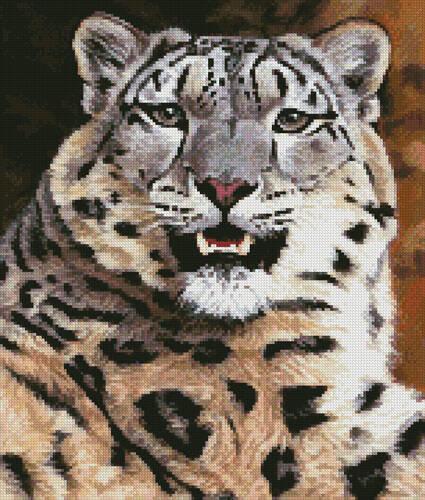 cross stitch pattern Mini Snow Leopard Close Up