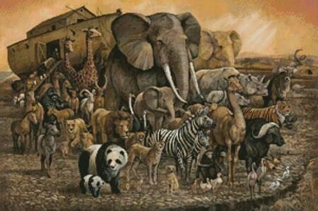 cross stitch pattern Noah's Ark Painting