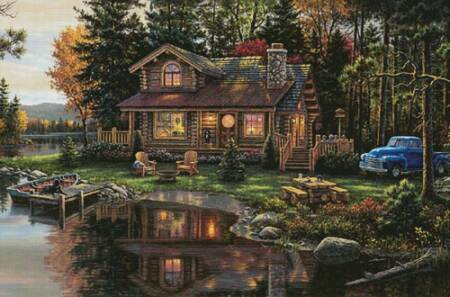 cross stitch pattern Peace River Cabin (Large)