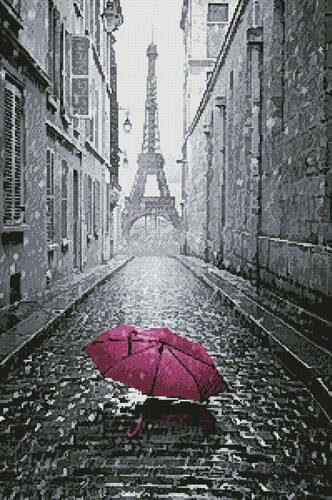 cross stitch pattern Pink Umbrella in Paris