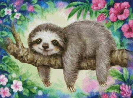 cross stitch pattern Sloth Lazy Morning