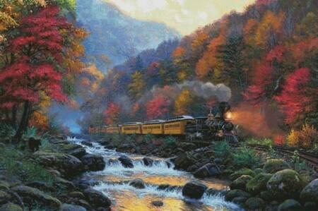 cross stitch pattern Smoky Mountain Train (Large)