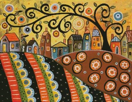 cross stitch pattern Sunny Landscape