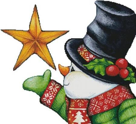 cross stitch pattern Snowman with Star (No Background)
