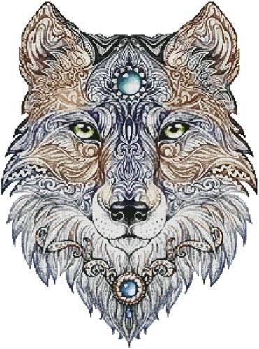 cross stitch pattern Tattoo Wolf