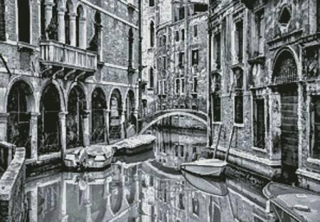 cross stitch pattern Venice Canal Black and White