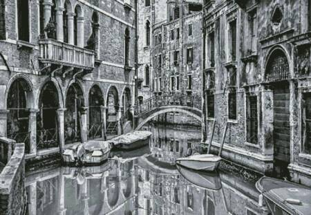 cross stitch pattern Venice Canal Black and White (Large)