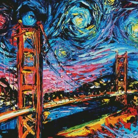 cross stitch pattern Van Gogh Never Saw Golden Gate