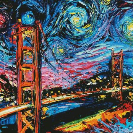 cross stitch pattern Van Gogh Never Saw Golden Gate (Large)