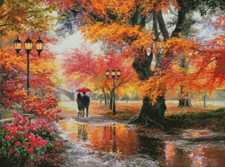 cross stitch pattern Walking in the Rain