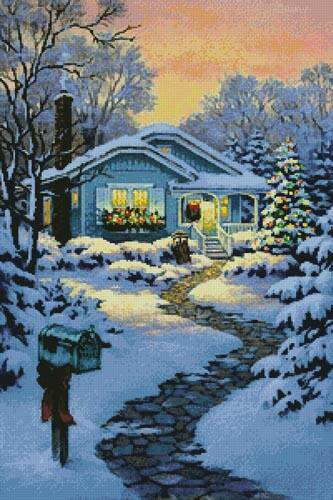 cross stitch pattern Christmastime Cottage