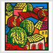 cross stitch pattern Colorful Town Scene