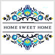 cross stitch pattern Home Sweet Home Polish Folk Art Design 2