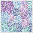 cross stitch pattern Purple Blue Turquoise Flowers Cushion