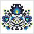 cross stitch pattern Polish Folk Art (Blue)