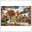 cross stitch pattern A Village in Autumn
