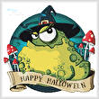 cross stitch pattern Halloween Toad