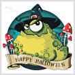 cross stitch pattern Halloween Toad