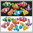 cross stitch pattern Colourful Clownfish