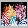 cross stitch pattern Colouful Zebras (Black Background)