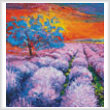 cross stitch pattern Lavender Field at Sunset (Crop)
