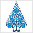 cross stitch pattern Polish Folk Art Christmas Tree Blue