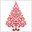 cross stitch pattern Polish Folk Art Christmas Tree Red
