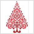 cross stitch pattern Polish Folk Art Christmas Tree Red