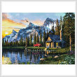 cross stitch pattern Sunset Log Cabin (Large)