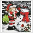 cross stitch pattern Teddy Santa with Snowman (Crop)
