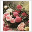 cross stitch pattern Basket of Roses Painting (Crop)