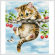 cross stitch pattern Cherry Kitten
