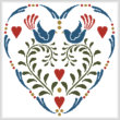 cross stitch pattern Rosemaling Heart 1