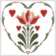 cross stitch pattern Rosemaling Heart 2