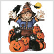 cross stitch pattern Scarecrow's Halloween Pumpkin - No Back