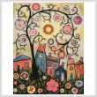 cross stitch pattern Collage Tree Village