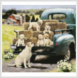 cross stitch pattern Green Truck Pups