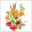 cross stitch pattern Hibiscus and Daylilies (No Background)