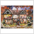 cross stitch pattern Halloween House Painting