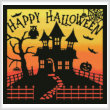 cross stitch pattern Halloween House Square