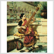 cross stitch pattern Lady Playing Sitar