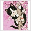 cross stitch pattern Mini Cherry Blossom Cat
